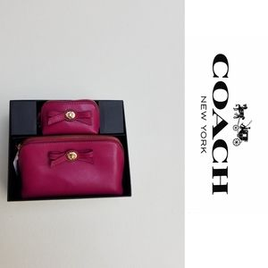 NWT COACH cosmetic bag set